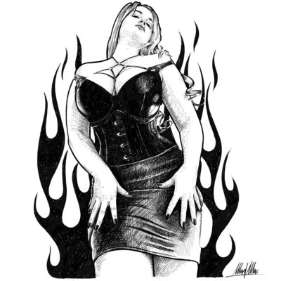 Ink drawing of hot model Lilli Luxe - Mad Mac Art