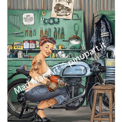 A mechanic pin-up in the garage - Mad Mac Art