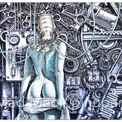 """""""The Mechanism"""" - ink and watercolor on paper"""