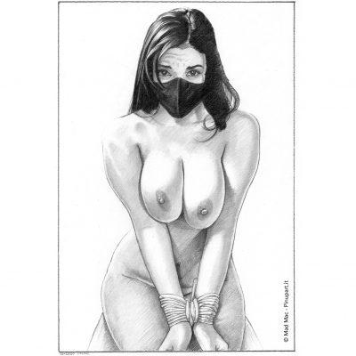 """Put the mask!"" - bondage pencil drawing - Mad Mac Art"